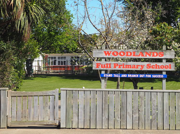 Woodlands school's front gate